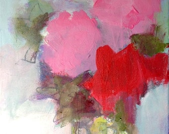 "Original Mixed Media - ""On the Back Porch Table"" - 11"" x 14"" on canvas, floral still life by Corinne Galla"