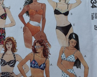 McCalls 8234  Suit Yourself Misses two-Piece Swimsuit and Sarong for Two-Way Stretch Knits Only in size 20
