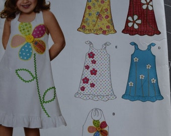 New Look 6690 Toddlers Halter Dresses in sizes 1/2-4 (uncut) Easy