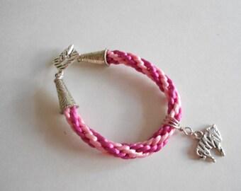 Pink Bracelet Kumihimo Bracelet Zebra Charm Silky Cord Bracelet Braided Bracelet Woven Bracelet Pink Cord Bracelet Silver Tone Findings