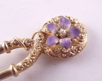 Antique Victorian 14K Gold Double Hair Pin with Purple Enamel Flower Diamond Accent and 10K Gold Prongs