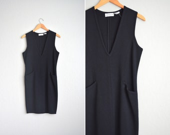 vintage '80s MINIMALIST black deep V-NECK sleeveless wool midi dress. size xs s.