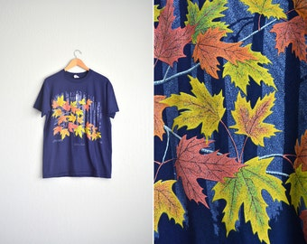 8 DOLLAR SALE! // Size S/M // LEAVES T-Shirt // Navy Blue - Quebec, Canada - Autumn - Fall Tee - Vintage '90s.