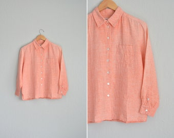 vintage '90s orange CREAMSICLE LINEN long sleeve OXFORD button-up shirt. size m.