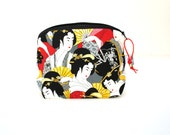 Zippered NOTIONS BAG with zipper pull -  Geisha's Fan