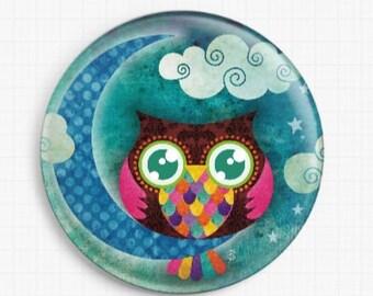 Needle Minder - Crescent Owl - Licensed Art By Sandra Vargas - Cross Stitch Keeper - Fridge Magnet