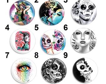 Needle Minder, Size: 38mm Carissa Rose, CrossStitch, Day of the Dead, Cross Stitch Keeper, Fridge Magnet, Pin Keeper, Sugar Skull Art