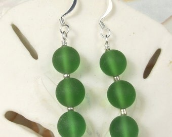 Green frosted beaded earrings with three beads, dangle earrings, christmas earrings, green earrings, sea glass earrings