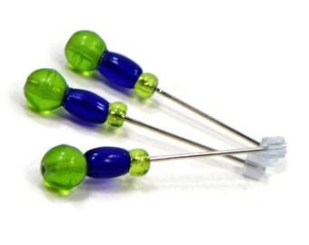 Counting Pins Marking Pins Cross Stitch Needlepoint Cobalt Blue Spring Green Stitch Counter DIY Crafts Stitch Counter