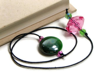 Pink Green Book Thong Beaded Bookmark Book Cord String Bookmark Gift under 5 Book Club Teacher Gift