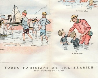 1888 Rare Antique Print of Young Parisians at the Seaside - French Vacation - Fun at the Beach