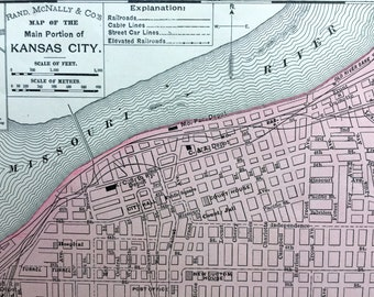 1900 Antique Map of Kansas City, Main Portion
