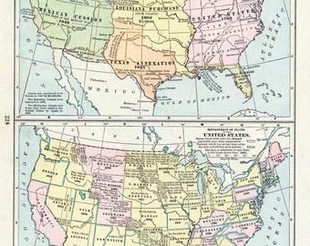 1919 Antique Map of US History - Acquisition of Territory - Development of States