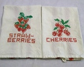 Kitchen Dish Towel Set, Hand Embroidered Dish Towels, Strawberries and Cherries, Red Stripe Dish Towel