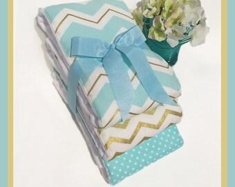 Boy Baby Shower Gift, Gold, Light Blue Burping Rags, Handmade Newborn Boy Welcome Gift. Diaper Burp Cloths