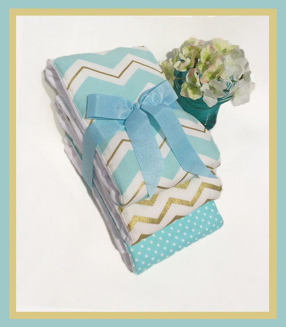 Baby Gift Gold : Boy baby shower gift gold light blue burping rags handmade