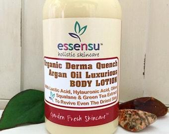 Derma Quench™ Organic Argan Oil Replenishing Body Lotion with Hylauronic Acid , Green Tea , Allantoin , Retinol | Dry Skin , Vegan - 8 oz