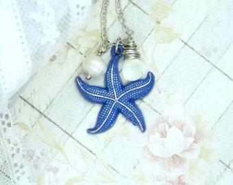 Starfish Necklace Beach Jewelry Nautical Necklace Starfish Jewelry Ocean Necklace Seaglass Jewelry