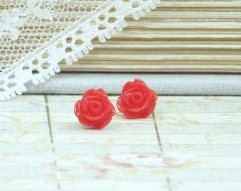 Tiny Rose Earrings Red Studs Hypoallergenic Red Rose Earrings Tiny Studs Red Earrings Red Rose Studs