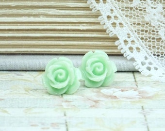 Green Flower Earrings Mint Green Studs Rose Stud Earrings Flower Studs Rose Earrings Surgical Steel Studs
