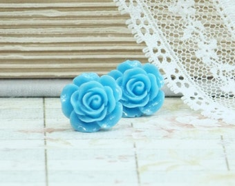 Sky Blue Earrings Rose Stud Earrings Blue Rose Earrings Blue Studs Blue Flower Earrings Hypoallergenic