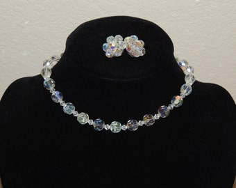 1950s Aurora Borealis Choker and Earring Set