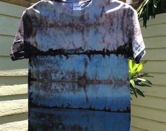Mens small premium multicolor Shibori Landscape tie dye T-shirt blue fade