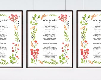Water Color Flowers Printable Wedding Seating Sign Template - Wedding Seating List - Floral Wreath Seating List - Seating List Download PDF