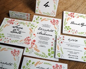 Printable Wedding Invitation Kit -  Wedding Invitation Set - Print at Home Wedding Invites & Stationery - Editable PDFs - Watercolor Flowers
