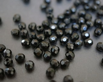 Tiny Jet Black Lucite Faceted Round Beads - 4mm - 100 pieces