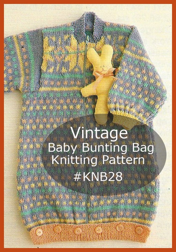 Baby Bunting Bag Knitting Pattern : Baby Bunting Bag Coat Knitting Fair Isle Pattern KNB28