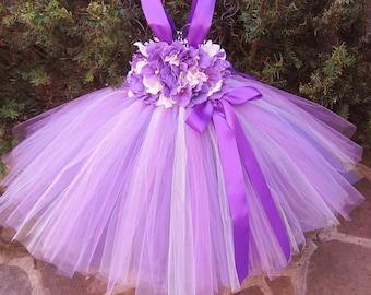 PURPLE IVORY FLOWERS.  Tutu Dress.  Birthday Tutu Dress.  Flower Girl Gown.  Photo Shoot.  Girls Tutu Dress. Purple Tutu Dress  Baby Gift.