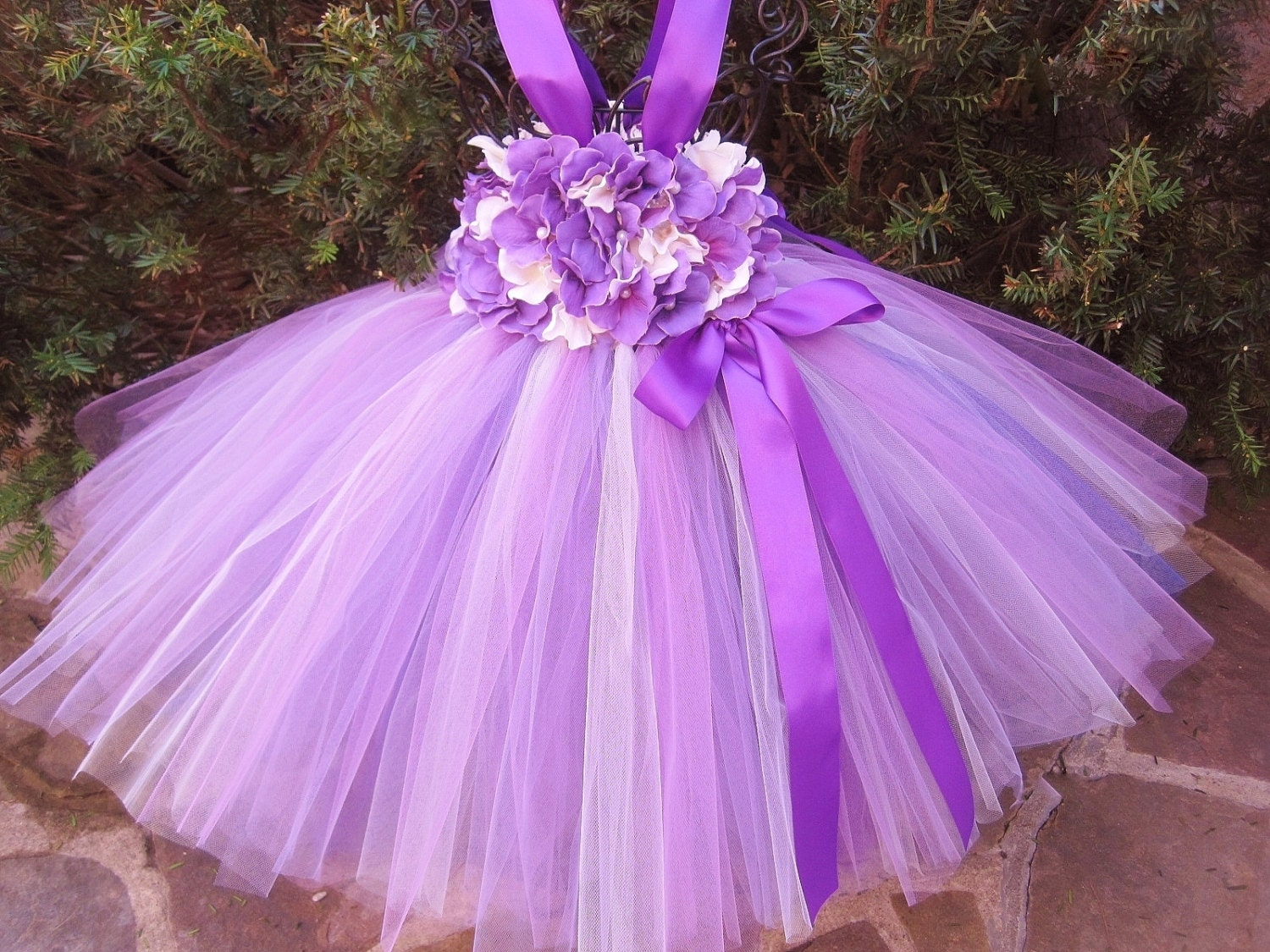 PURPLE IVORY FLOWERS Tutu Dress Flower Girl Gown