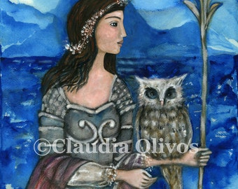 Spiritual Art - Athena Goddess - inspirational art - Athena wall art