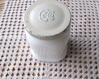 Antique Colgate Charmis Cold Cream Milk Glass Jar Circa 1910 or 1920s