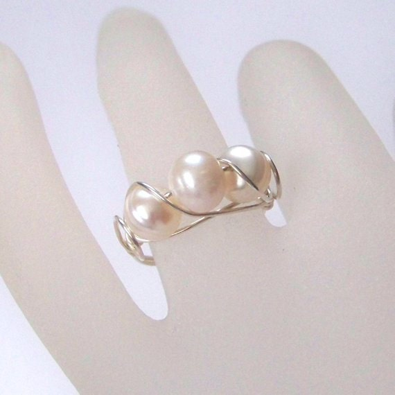 Sterling Silver Wire Wrapped Ring with Three Pearls - Scroll Sterling Silver Ring - Pearl Ring - Made to Order