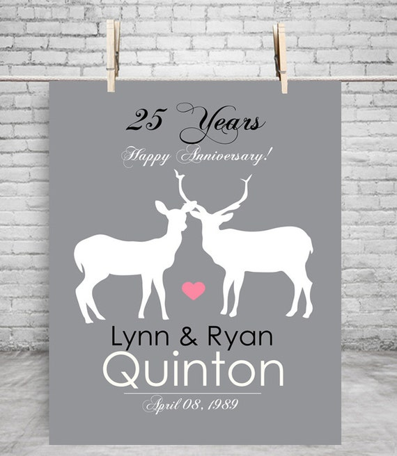 25th Anniversary Wedding Gifts For Couple Deer Print 5th Anniversary