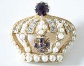 Vintage Crown Pin Tiny Faux Pearls Rhinestones Purple Stones
