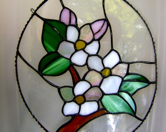 Blossom Apple Cherry Blossom Stained Glass Panel Suncatcher Pink Flowers Spring Wedding Mothers Day Birthday Maydale Solstice Pagan flowers