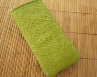 iPhone 7 Sleeve / iPhone 7 Plus Cover / iPhone 4S / iPhone 5 leather / iPhone 6 case / iphone 5 cover / Nexus 4 - Green Fish Leather