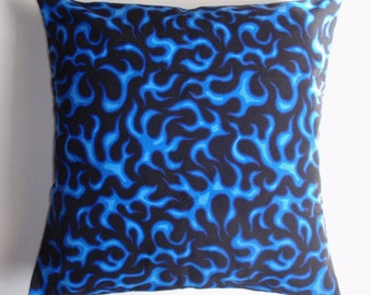 """Throw Pillow Cover, Royal Blue & Black Accent Pillow, Toss Pillow, Cushion Cover, Blue Flames Pillow, Cranston Prints Fabric, 16x16"""" Square"""