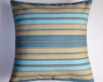 SUMMER SALE - Handmade Throw Pillow Cover, Blue & Yellow Oxford Stripe Accent Pillow Cover, Handsome Blue Striped Home Decor Cushion Cover