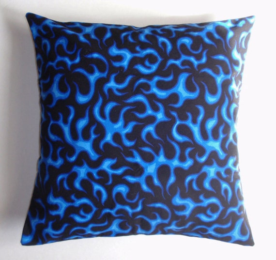 Handmade throw pillow cover royal blue black toss pillow for Royal blue couch pillows