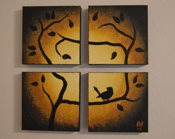 """Acrylic Painting 17"""" x 17"""" x 1.5"""" gallery wrapped canvas """"Bird in Tree"""""""