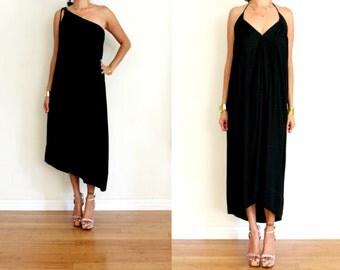 Upcycled Black Jacquard One Shoulder Asymmetrical Frock Midi Dress S