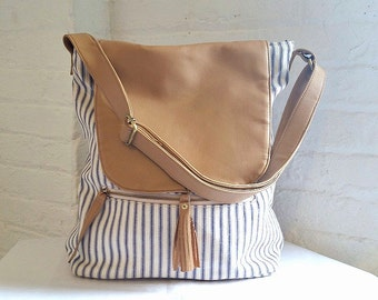 Nautical Stripe Cotton Ticking Bag with Flap, Striped Blue and White Ticking Bag with Tassel, Non Leather Bag