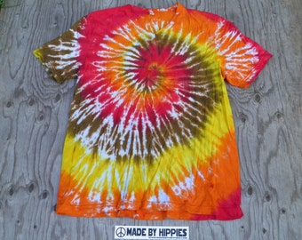 Heated Spiral Tie Dye V-neck T-Shirt (Bella Canvas Size 2XL) (One of a Kind)