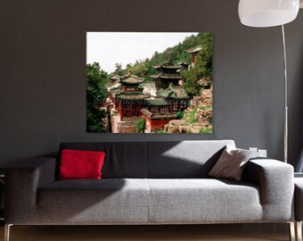 Asian Landscape Photography, Chinese Rooftops,Chinoiserie Asian Art,Architectural Art,Mountain Landscape Print,Red Rustic Art,Asian Wall Art