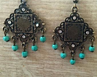 Bohemian Tribal Earrings, Brass Dangle Earrings, Turquoise Beaded Chandelier Earrings, Bohemian Jewelry, Gypsy Style