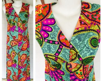 Vintage 60s 70s psychedelic maxi dress
